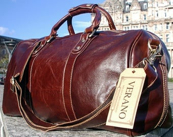 New Leather Italian Duffle Travel Flight Gym Weekend Caryon Bag Holdall Mens Birthday Gift Chestnut Brown Verano