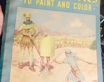 1939 Whitman coloring book- Bible Stories to paint and color # 574 by joslyn, werner & russell
