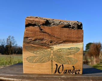 Live edge 'wander' dragonfly red oak sign
