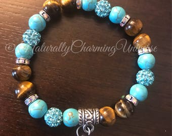 High Quality Blue Howilite and Tigers Eye with Feather