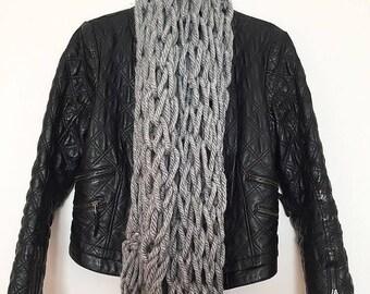 knitwear scarf, grey scarf