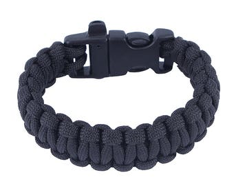 Paracord Survival Bracelet with built-in whistle - Black