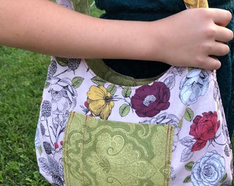 Boho Reversible Bag - Medium Pink Green Floral Pattern - Reversible Bag - Purse - Hobo Bag - Handmade