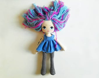 Handmade rag doll with curly hair 21 inch, painted face, textile doll, OOAK doll, jeans dress, blue eyes doll, fabric doll, baby doll, dolls