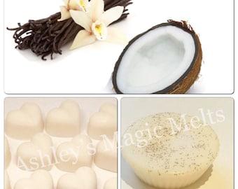 3 Cocount vanilla  wax melts, soy wax melts, fruit scented, highly scented melts, sample wax melts, wax melt tarts, wholesale wax melts