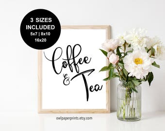 Coffee and Tea Sign - PDF Printable, Signs, printer, wedding, shower, breakfast, meeting, conference, event