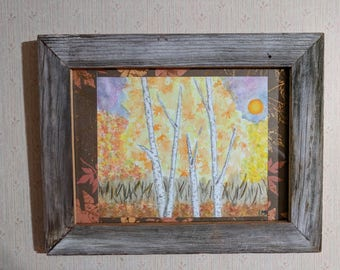 The Autumn Birch- Framed Original Watercolor Painting with Colored Pencil Highlights