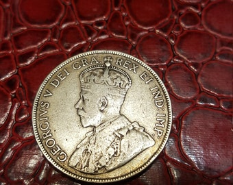 1917  50 Cent Coin Canada Edward VII Newfoundland .925 Silver