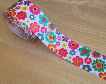 Ribbon Grosgrain Large 38mm Printed Pattern - Flowers - Sold By The Yard