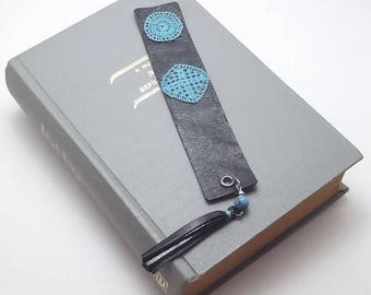 Leather Bookmark, Crochet Lace, Blue Turquoise and Steel Beads, Steel Rings and Pins, Leather Tassels, Cotton Thread, Best Selling Items
