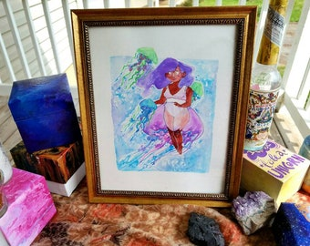 Jellygirl. Ocean theme underwater soft black girl with  lavender hair and pastel jellyfish framed original watercolor