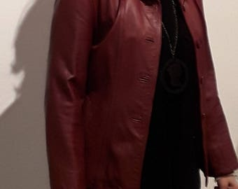 Vintage Bordeaux Leather Jacket