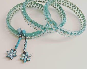 Blue Swarovski Crystal Bangle and Earrings Jewelry Set