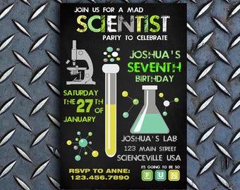 Scientist Birthday Invitation, Scientist Birthday Party Invitation, Scientist Invitations, Science Birthday Invitation, Science Party