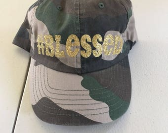 Camouflage Camo #Blessed Hat Not Trucker Style
