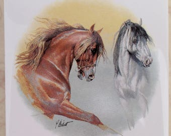 Ceramic Tile Brown & White Horses Pretty