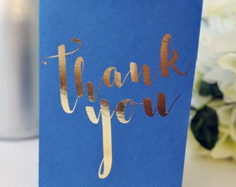 Thank You A6 gold foil card - gold and blue