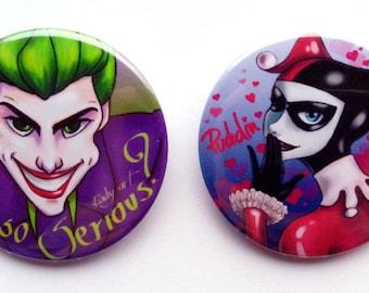 The Joker and Harley Quinn 44mm pins