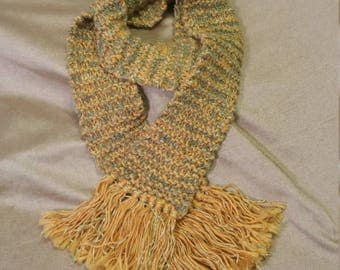 Gold and green velvet fringed scarf