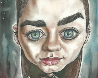 Arya Stark fresh from Jaqen H'ghar's training A3 print 600 pixels per inch resolution. Signed by the artist.