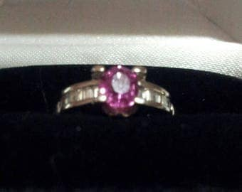 18K White Gold and Pink Sapphire/Diamond Ring, Size 5