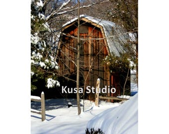 Downloadable Print Photography Barn in the Snow Winter Farm