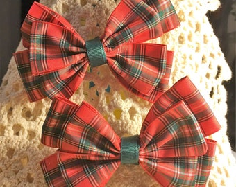 Hair Bows, Boutique bows, Bow Set, Pinwheel Bow, Fancy Bow, Red, Green, Girls hair bow, School Bow, Plaid Bow, Overstacked Bow, 4 1/2""