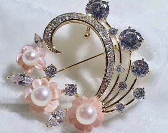 High Quality Vintage Brooch With Genuine Freshwater Pearl And Natural Pink OR White Mother of Pearl Flowers, Cubic Zirconia in Gold Plated