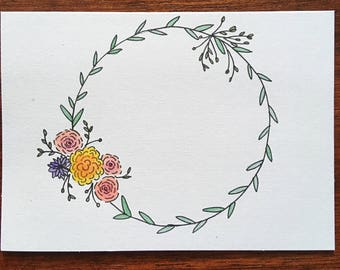 Watercolor & Ink Wreath Greeting Card