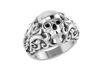 Skull Ring with Vines Made Out of Solid Sterling Silver