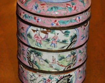 Chinese Cloisonné Antique enamel stacking food/trinket box