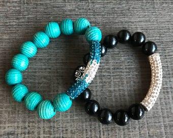 Beaded bracelet ~ Black Jasper with pave crystal tube bracelet