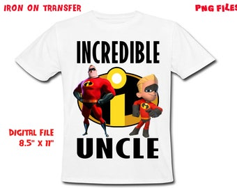 The Incredibles Iron On Transfer - UNCLE - The Incredibles Uncle Birthday Shirt Design - Uncle DIY Shirt - Digital Files - Instant Download