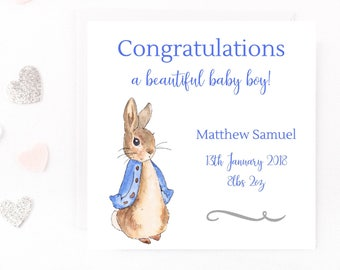 Personalised New Baby Boy Card, Peter Rabbit Baby Card, Beatrix Potter Personalised Baby Card, Birth, Handmade Baby Boy Card, New Arrival