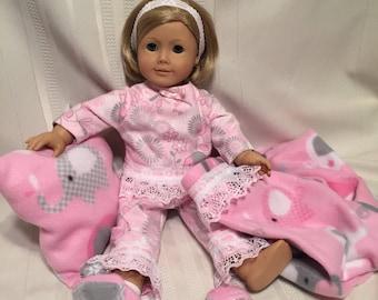 Pink pajama Set for 18 inch dolls.