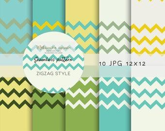Digital Paper, Stripes Digital Paper,  Digital Paper Pack, Scrapbook, Background, Seamless Pattern, Zigzag Pattern, dp007