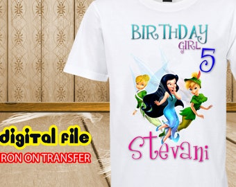 Iron On Transfer Tinkerbell Birthday Shirt, Tinkerbell Iron On Transfer, Tinkerbell Birthday Girl Iron On Transfer, Tinkerbell Personalize