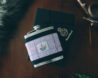 Harris Tweed Lilac/Pink Hip Flask Gift Boxed 6oz, Groomsmen Gift, Whiskey Flask, Fathers Day Gift