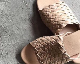 Womens Leather Slip On Leather Sandals Woven Leather Slides Slippers Women