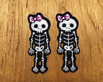 Set 2pcs. Skeleton Skull Bones Halloween Ghost Sew / Iron On Patch Embroidered