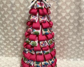 Easter decor, easter decorating, easter ribbon tree, Easter egg ribbon tree, pink ribbons, Easter egg, ribbon tree