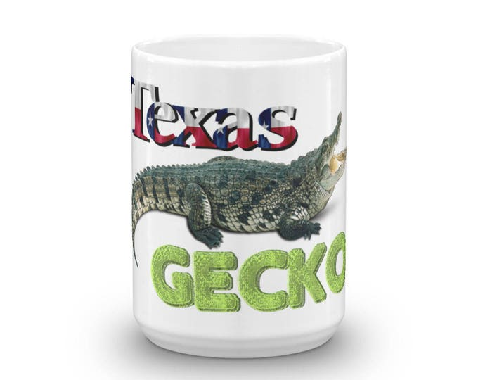 Novelty Texas Coffee Mug, Alligator is a Gecko Cup, Funny, Cool, Coffee Lover Gift Idea, For Anyone Who Loves Java Juice, Awesome Present