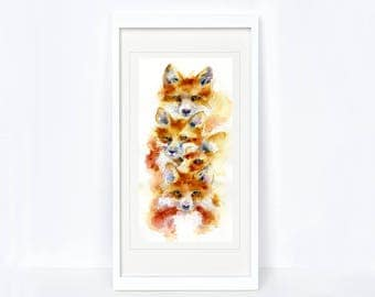 Foxy - Fox Print. Printed from an Original Sheila Gill Watercolour. Fine Art, Giclee Print, Hand Painted, Home Decor
