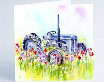 Fordson Tractor - Greeting Card - Taken from an original watercolour by Sheila Gill