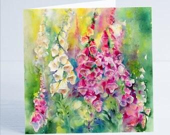 Foxgloves Flower Greeting Card by Sheila Gill