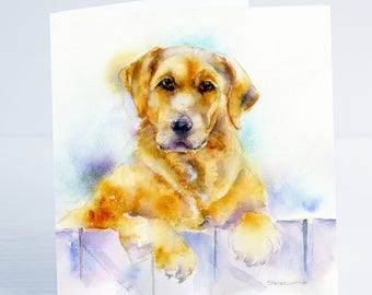 Golden Retriver - Greeting Card - Taken from an original Sheila Gill Watercolour Painting.