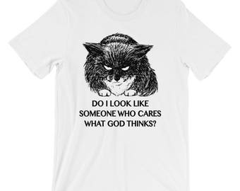 Atheist cat funny Short-Sleeve Unisex T-Shirt