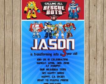 Rescue Bots Invitation,Rescue Bots Birthday,Rescue Bots Party,Rescue Bots Birthday Invitation