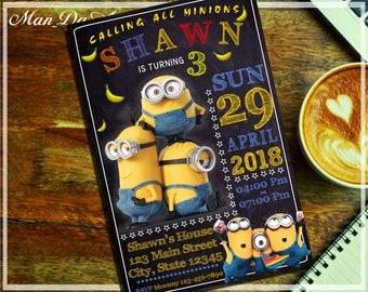 Minion Invitation.Minion Digital Printable.Minion Birthday Invitation.Minion Party.Minion Birthday Card.Minion Chalkboard Invitation-101