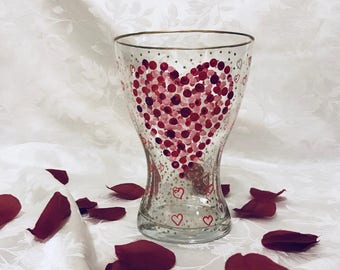 VALENTINE'S DAY GIFT Sale -  Hand Painted Heart Vase